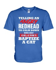 Telling an Angry Redhead V-Neck T-Shirt tile