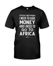 Stuck between save money and go to Africa Premium Fit Mens Tee thumbnail