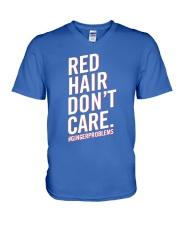 Red hair don't care V-Neck T-Shirt thumbnail