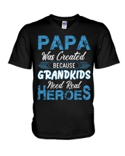 Papa Was Created Because Grandkids V-Neck T-Shirt thumbnail