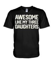 AWESOME LIKE MY THREE DAUGHTERS Father's Day Gift V-Neck T-Shirt thumbnail