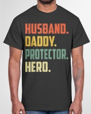 Husband Daddy Protector Hero Shirt Vintage Colors Classic T-Shirt garment-tshirt-unisex-front-03