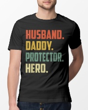 Husband Daddy Protector Hero Shirt Vintage Colors Classic T-Shirt lifestyle-mens-crewneck-front-13