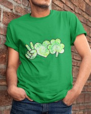St Patrick's Day With Peace Love Shamrock Classic T-Shirt apparel-classic-tshirt-lifestyle-26