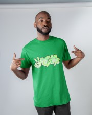 St Patrick's Day With Peace Love Shamrock Classic T-Shirt apparel-classic-tshirt-lifestyle-front-32