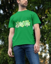 St Patrick's Day With Peace Love Shamrock Classic T-Shirt apparel-classic-tshirt-lifestyle-front-47