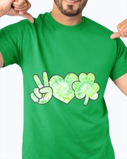 St Patrick's Day With Peace Love Shamrock Classic T-Shirt apparel-classic-tshirt-lifestyle-front-92