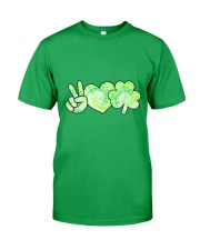 St Patrick's Day With Peace Love Shamrock Classic T-Shirt front