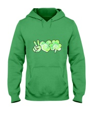St Patrick's Day With Peace Love Shamrock Hooded Sweatshirt tile