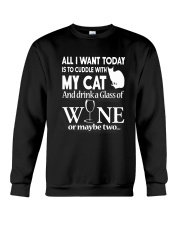 Cuddle with My Cat And Drink Wine Shirt Crewneck Sweatshirt thumbnail