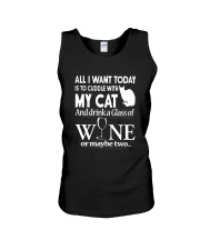Cuddle with My Cat And Drink Wine Shirt Unisex Tank thumbnail