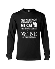 Cuddle with My Cat And Drink Wine Shirt Long Sleeve Tee thumbnail