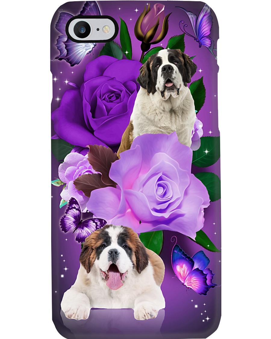 Dog - Saint Bernard Purple Rose Phone Case