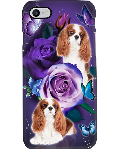Dog - Cavalier King Charles Spaniel Purple Rose