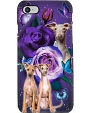 Dog - Italian Greyhound Purple Rose Phone Case i-phone-7-case