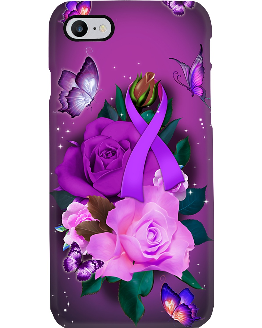 Alzheimer's Awareness - Purple Ribbon and Rose Phone Case