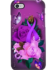 Alzheimer's Awareness - Purple Ribbon and Rose Phone Case i-phone-7-case