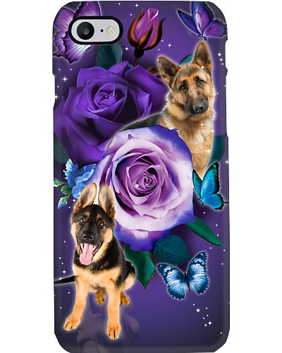 Dog - German Shepherd Purple Rose