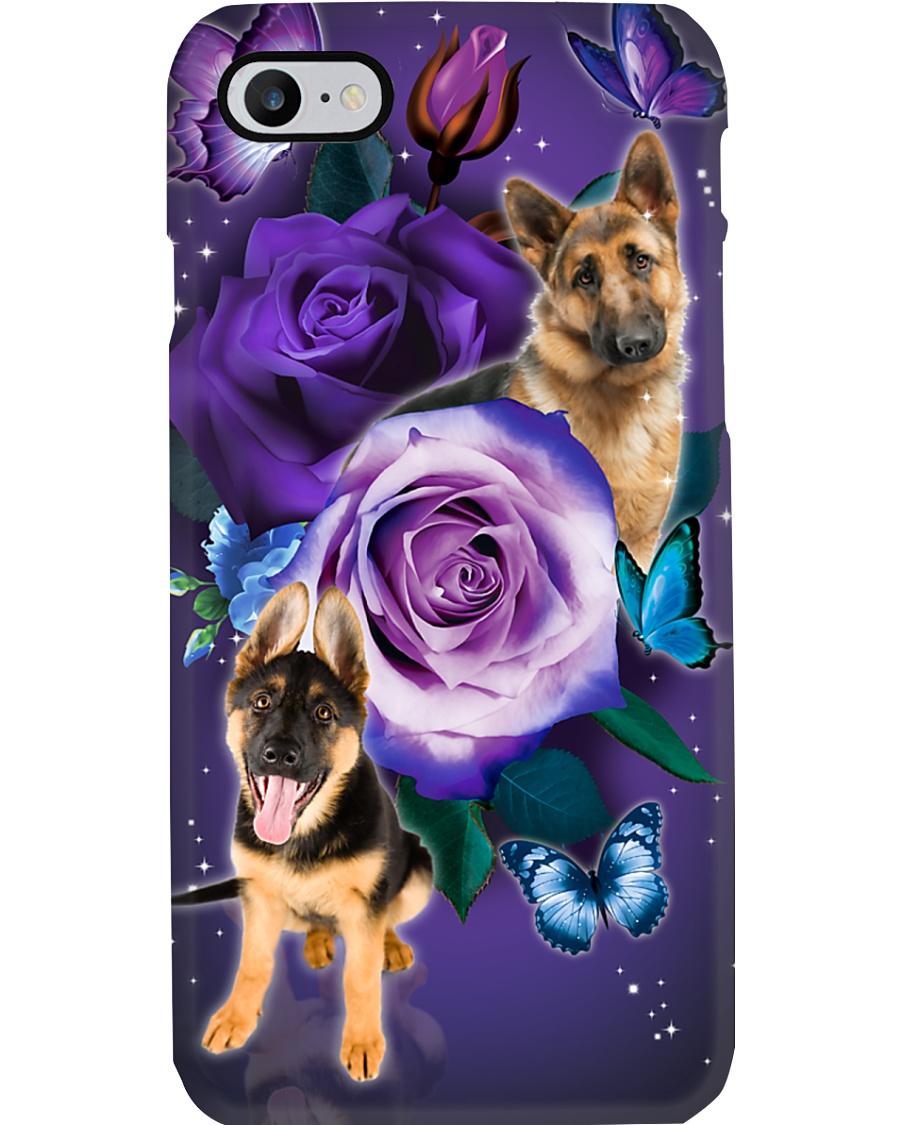 Dog - German Shepherd Purple Rose Phone Case