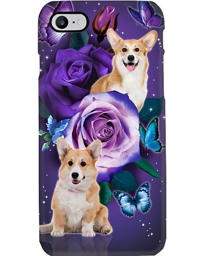 Dog - Corgi Purple Rose