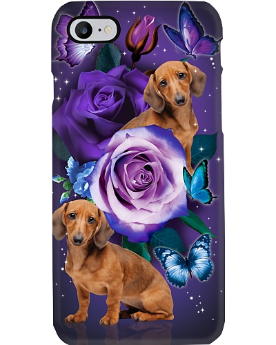Dog - Dachshund Purple Rose