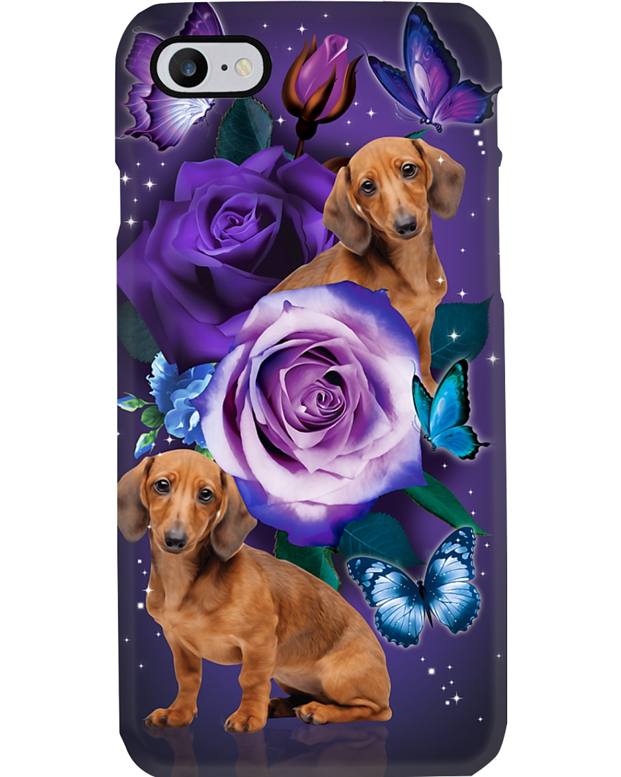 Dog - Dachshund Purple Rose Phone Case