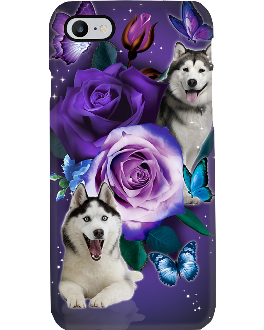 Dog - Husky Purple Rose Phone Case
