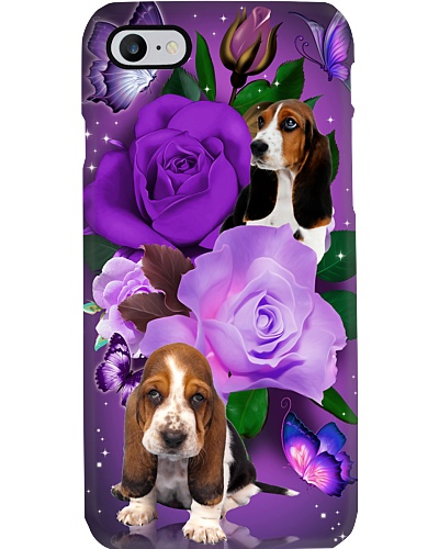 Dog - Basset Hound Purple Rose