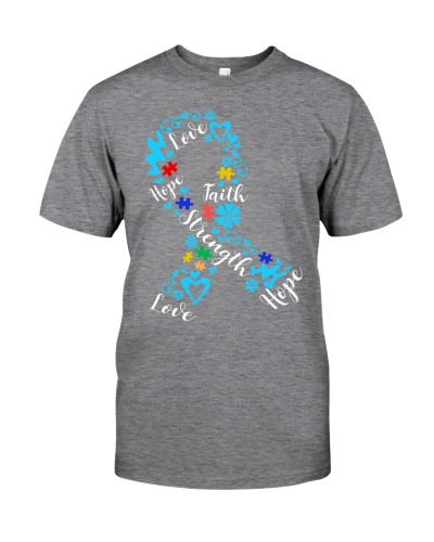 Love Hope Faith Strength Ribbon - Autism Awareness
