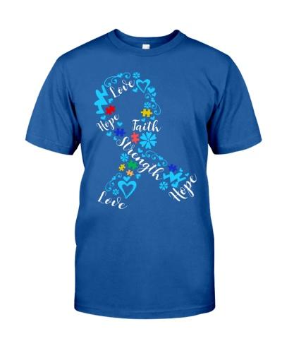 Love Hope Faith Strength Ribbon - Autism Awareness