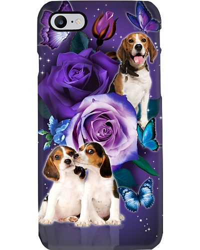 Dog - Beagle Purple Rose