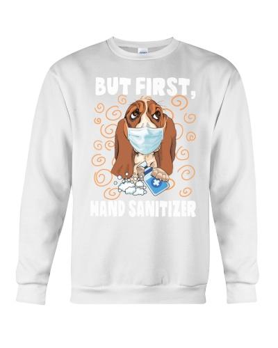 But first hand sanitizer - Basset Hound Dog