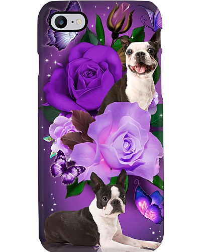 Dog - Boston Terrier Purple Rose