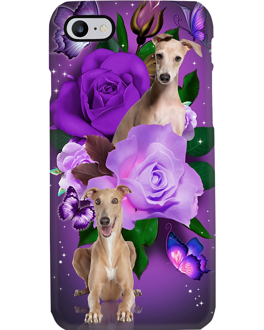 Dog - Greyhound Purple Rose Phone Case