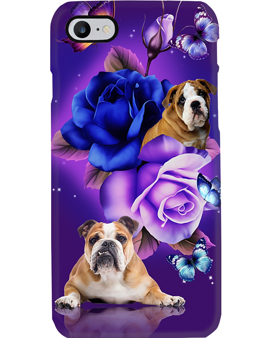 Dog - Bulldog Purple Rose Phone Case