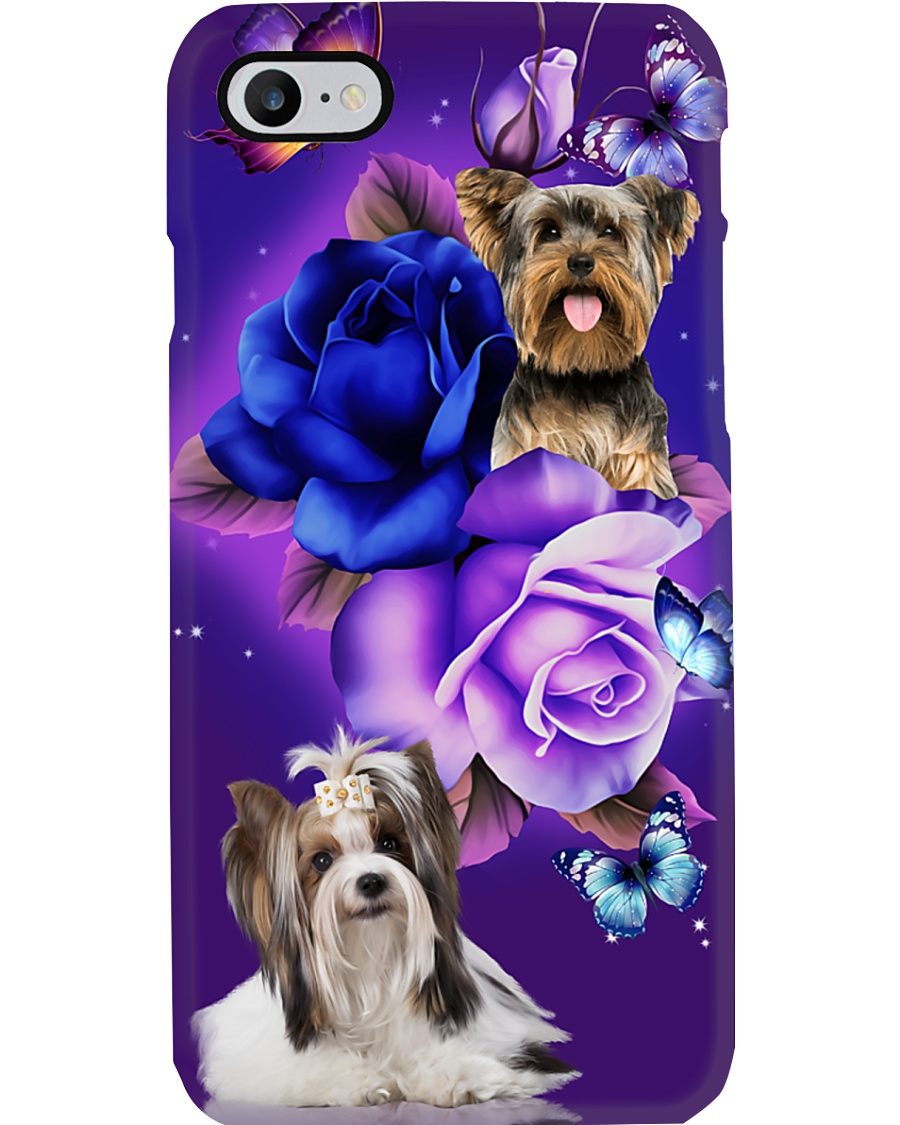 Dog - Yorkshire Terrier Purple Rose Phone Case