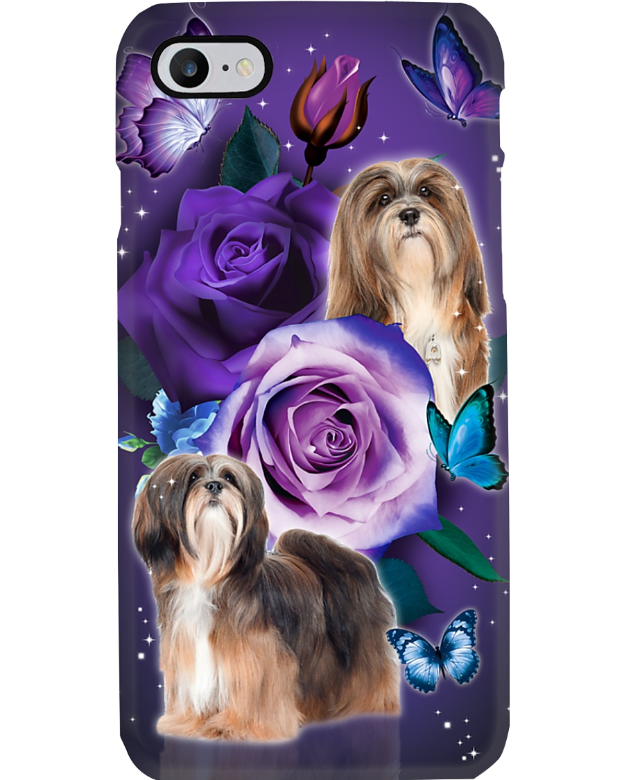 Dog - Lhasa Apso Purple Rose Phone Case