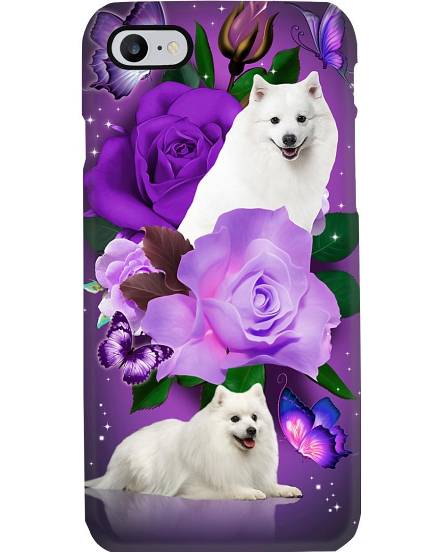 Dog - Japanese Spitz Purple Rose Phone Case