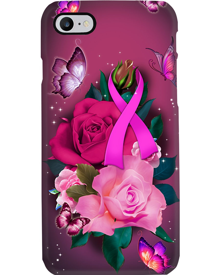 Breast cancer Awareness - Pink ribbon and Rose Phone Case