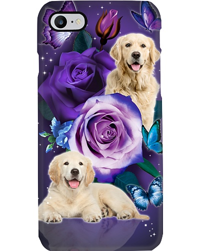 Dog - Golden retriever Purple Rose