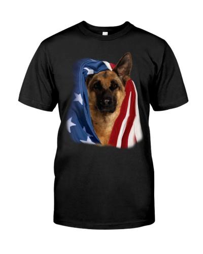 Cute German Shepherd with USA Flag
