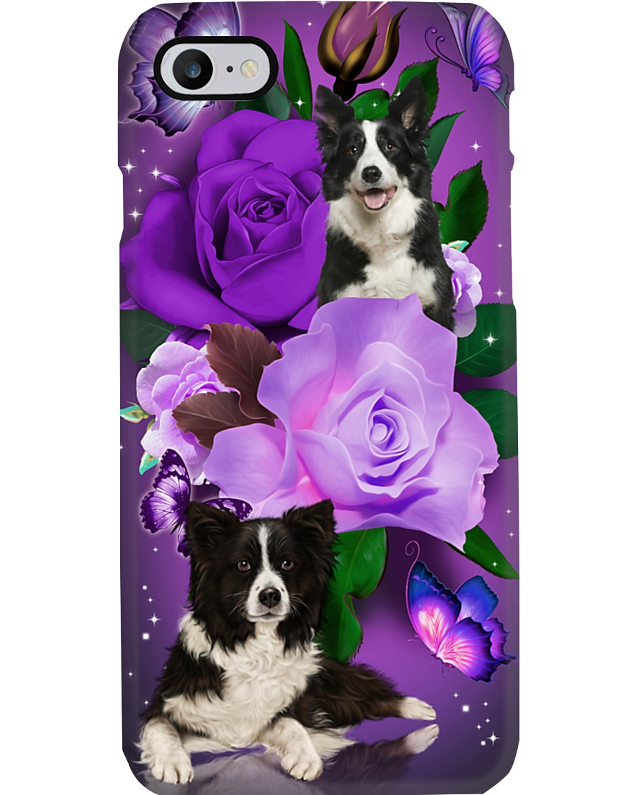 Dog - Black and White Border Collie Purple Rose Phone Case