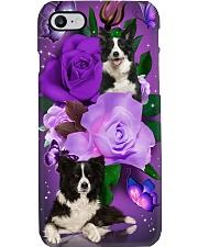 Dog - Black and White Border Collie Purple Rose Phone Case i-phone-7-case