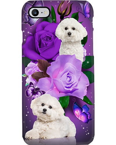 Dog - Bichon Frise Purple Rose