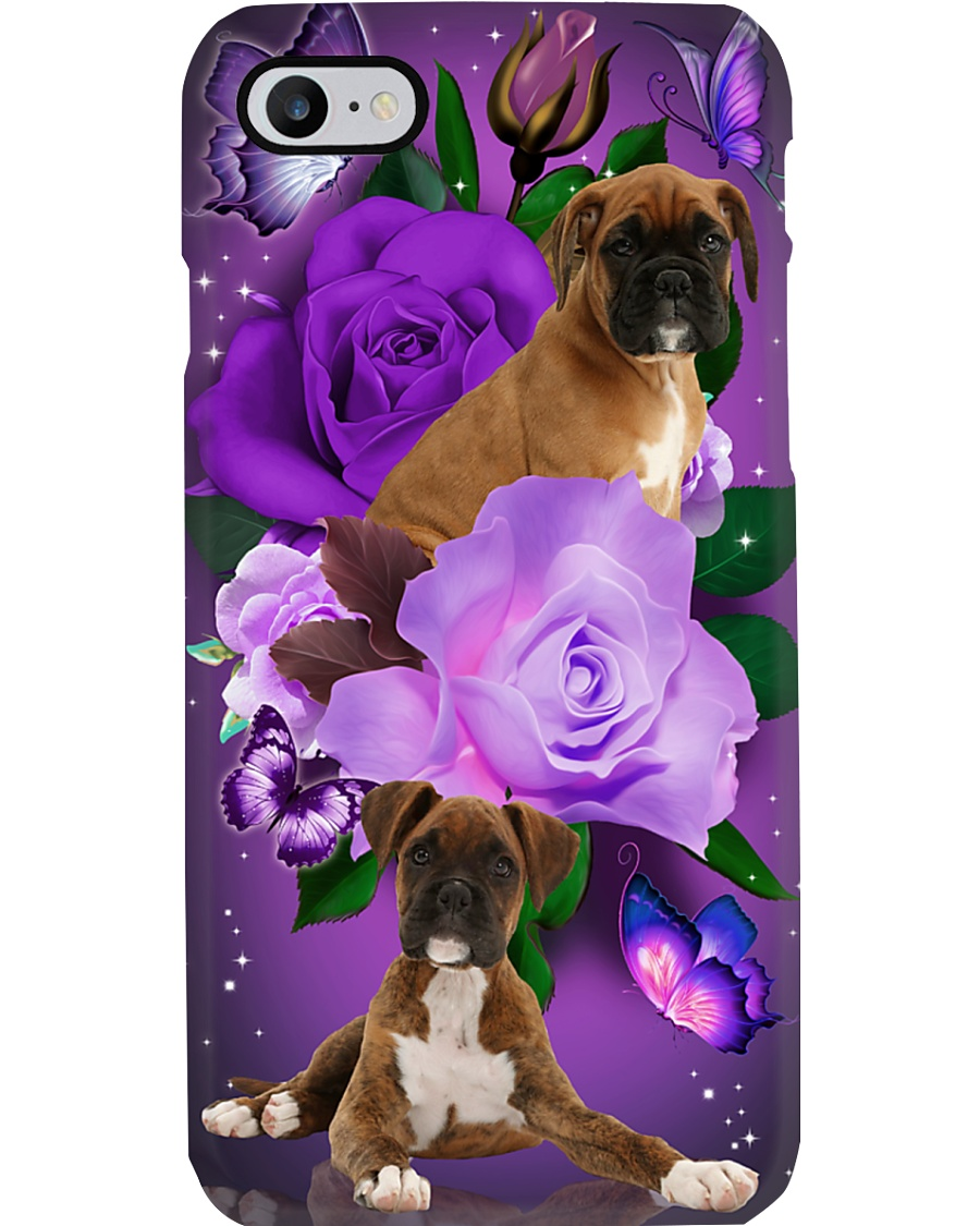 Dog - Boxer Purple Rose Phone Case