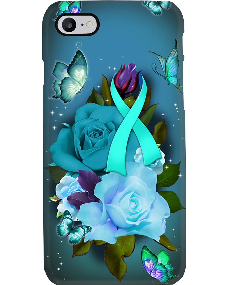 Ovarican cancer Awareness - Ribbon and Rose Phone Case