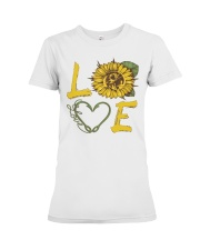 Love  Fishing with sunFlower Premium Fit Ladies Tee front