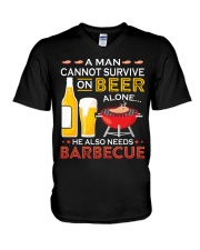 A Man Cannot Survive on Beer Alone V-Neck T-Shirt thumbnail