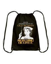 OLD WOMAN NURSING DEGREE Drawstring Bag thumbnail