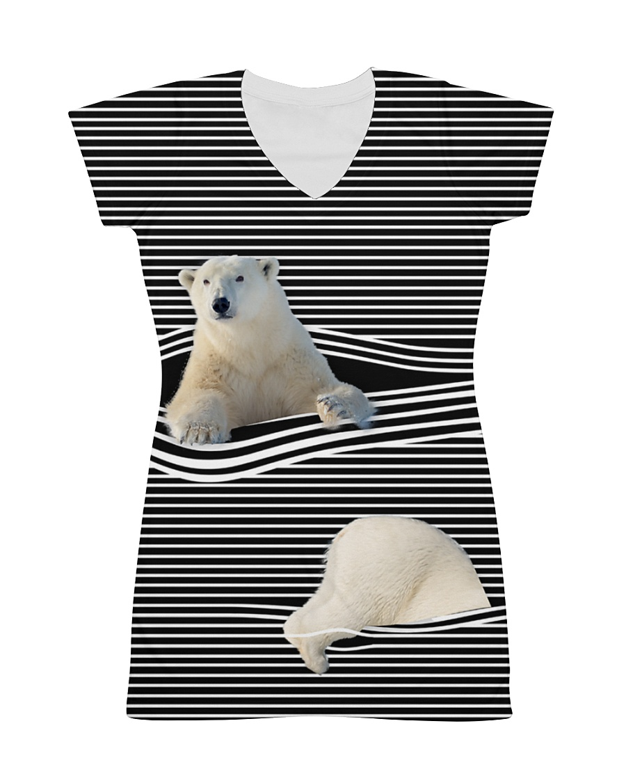 Polar Bear striped All-over Dress